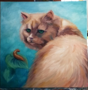 cat and slug painting in progress