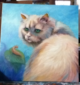cat and slug painting in progress