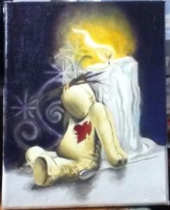 voodoo doll painting in progress
