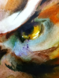 detail of owl eye on painting