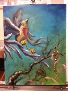 painting of bird and key in progress