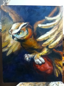 Owl painting in progress. Possibly finished