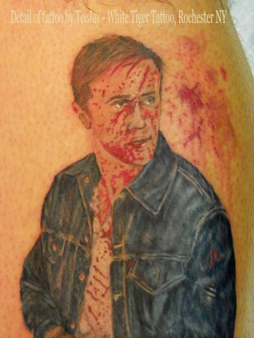 detail Ryan Gosling from movie Drive tattoo