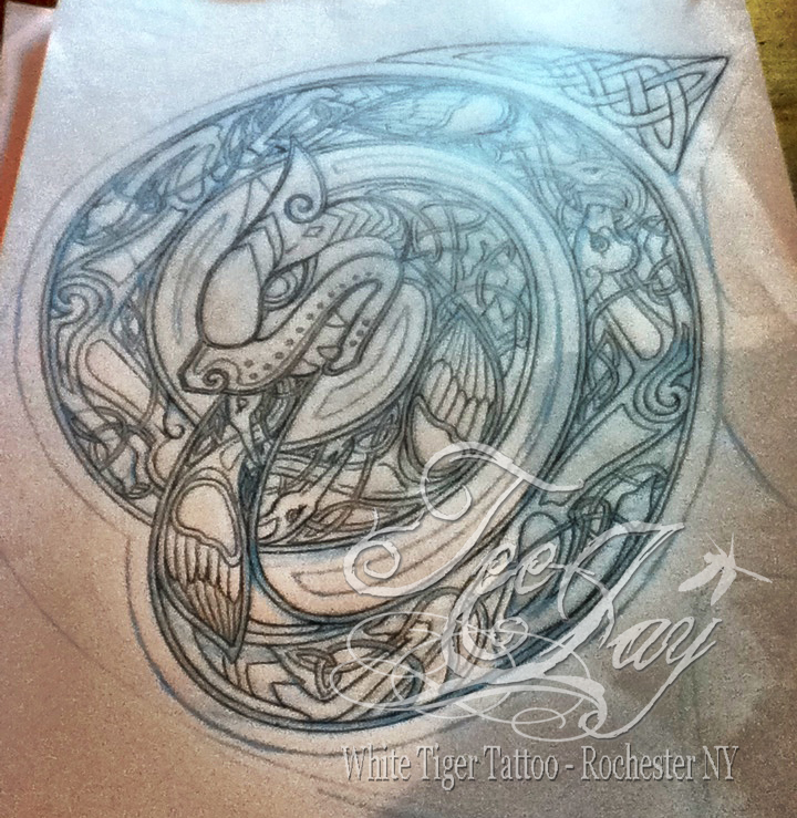 Progression of a design celtic ouroboros just teejay 39 s for Snake eating itself tattoo