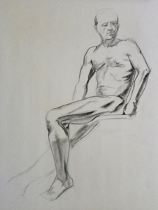 seated male figure drawing
