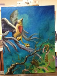 bird and key painting in progress