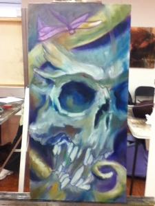 skull painting in progress