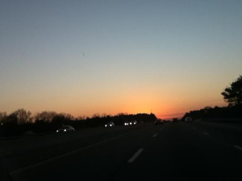 sunset over the Thruway