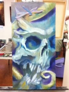 skull & dragonfly painting