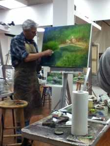 Steve Carpenter demo painting on student work