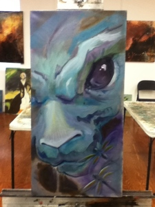 evil bunny painting in progress