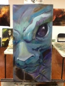 evil bunny painting in progress