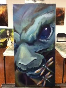 dark bunny painting in progress