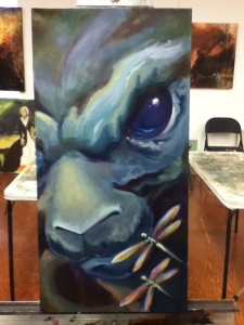 angry bunny painting