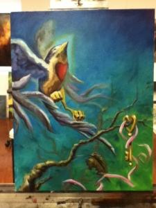 bird letting go (with church key)