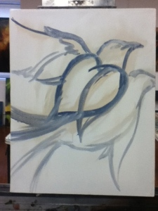 underpainting of dead bird