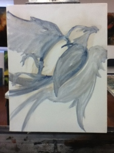 sorting out dead bird painting