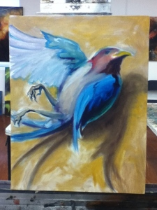 dead bird painting roughed out