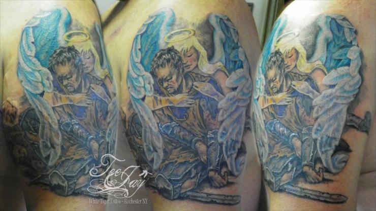 Guardian Angel, Fallen Knight tattoo