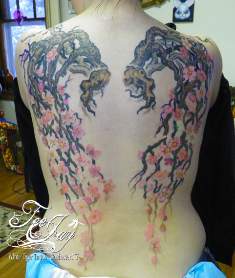Cherry Blossom Wings tattoo