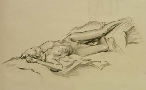 figure drawing reclining nude female