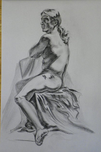 figure drawing male seated side