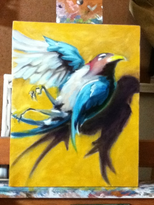 dead bird painting in progress