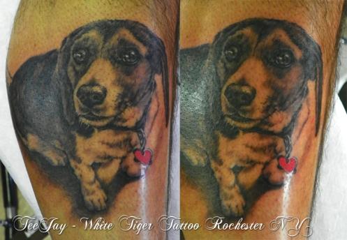 Jazzy dog portrait tattoo