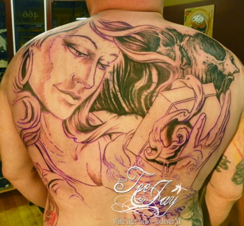 Pandora tattoo back piece