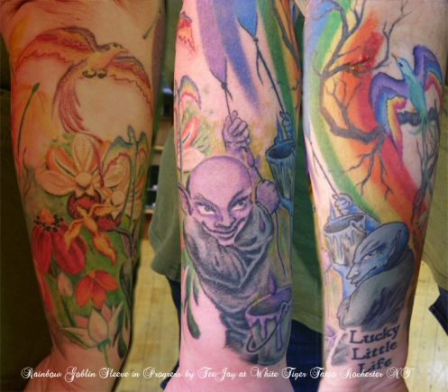 Rainbow Goblins Sleeve tattoo in progress