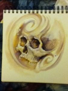 skull in swirl