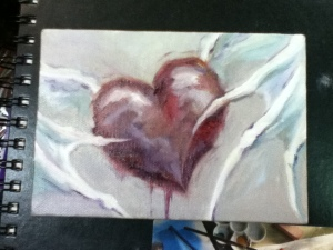heart with white bat wings