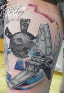 death star and imperial shuttle tattoo