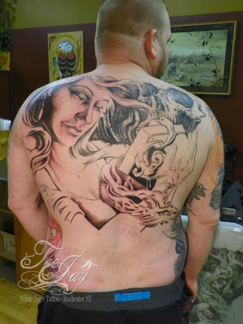 Frank's back piece tattoo of Pandora in progress