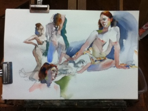 watercolor figure painting