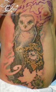 owl and 13 clock tattoo