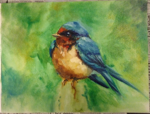 fat bird oil painting
