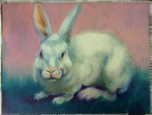 bunny oil painting in progress
