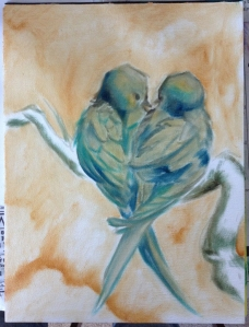 love birds painting in progress