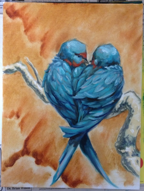 love birds oil painting possibly finished
