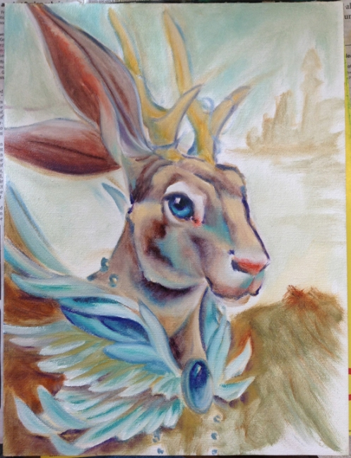 wolpertinger painting in progress