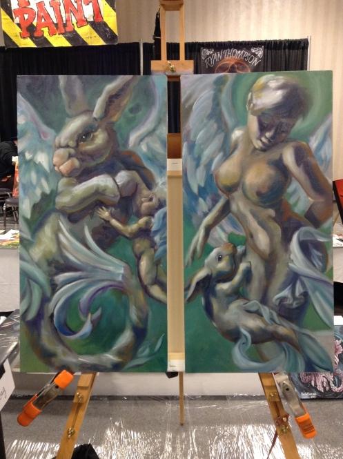 wip oil painting mer-bunny - winged mermaid