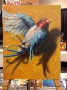 wip oil painting dead bird