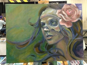wip oil painting skull woman face
