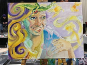 wip oil painting Delirium