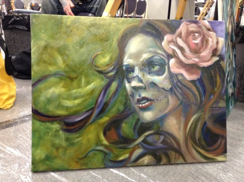 wip oil painting woman skull face rose