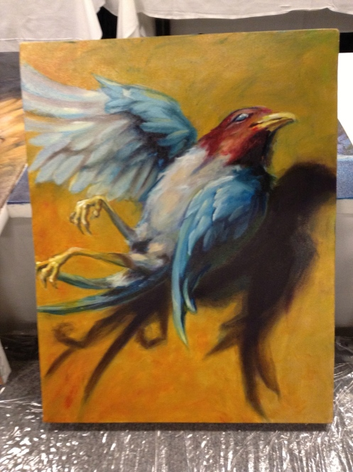 wip oil painting dead bird