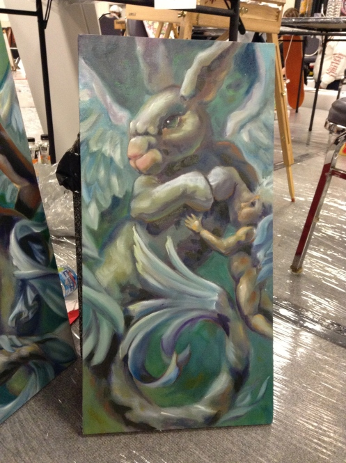 wip oil painting winged mer-rabbit faces off cherub