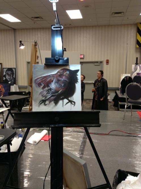 Matthew Lukesh dead bird oil painting