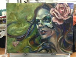 skull gypsy painting in progress